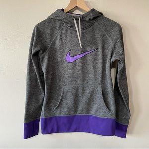 Nike Therma-Fit Grey/Purple Cowl Neck Hoodie